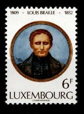 Inventor Blind writing Louis Braille. 1w. Luxembourg 1973