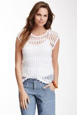 TOMMY BAHAMA CROCHET KNIT TEE TOP CAP SLEEVE WHITE XL NWT