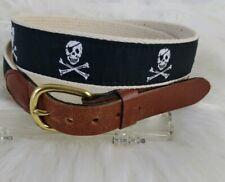 Essex Leather Ribbon Belt Hand Made Essex CT Embroidered Skull  & Bones Men's 34