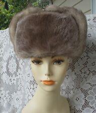 """Vtg Coyote Deer Russian Style Fur Hat W/Snaps & Ear Flaps Men's Women's 22 3/4"""""""