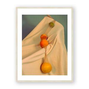 Fruit Still Life Framed Print , Food Photography Wall Art , Orange, Peach, Pear