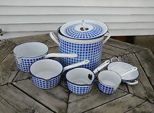 Vintage ENAMELWARE - 7 piece set Enameled Cookware - marked 6 BB / logo