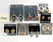 CLOSEOUT Southwest SILVER NEW Handmade Navajo Amber Earrings Wholesale p022
