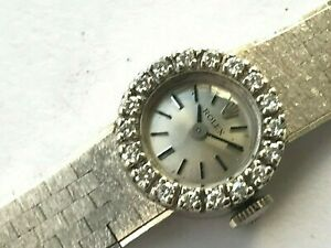 Vintage 15.5mm 14 Karat Gold Rolex Diamonds ladies hand winding watch, cal. 1400