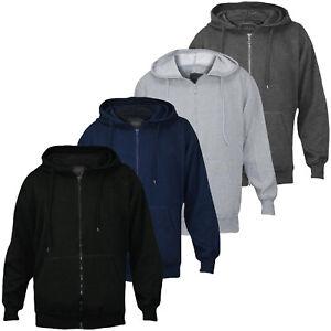 Mens Plain Hoodies Fleece Sweatshirt Hooded Zipper Top Jumper Big Sizes S To 6XL