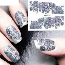 2 Sheet Nail Art Stickers Water Transfer Blue Flower Tips DIY Decal Salon Decor