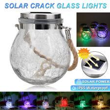 Solar Power Crackle Glass Globe Lights LED Hanging Lantern String Fairy