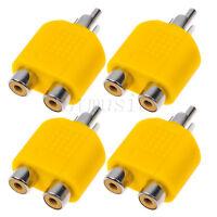 4pcs RCA Y Splitter AV Audio Video Plug Converter 1Male to 2Female Cable Adapter