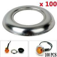 "100 Pcs Round Stainless Steel Trim Ring Bezel Cover For 3/4"" LED Marker Lights"