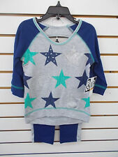 Girls Pogo Club 2pc Navy, Green, & Gray w/ Stars Legging Set Size 4 - 10/12