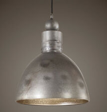 Dome Metal Pendant Antiqued Aged Silver 14D Dining Chandelier Light Farmhouse