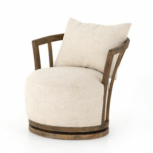 """32"""" D Contemporary Vintage Victorian Swivel Chair White Fabric Dark Brown Wood"""