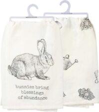 Bunnies Bring Blessings Of Abundance~Easter Garden Rabbit~Tea/Kitchen/Dish Towel