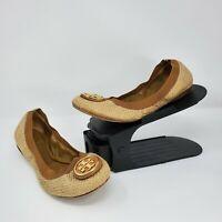 Tory Burch Womens Caroline Flats Tan Shimmer Straw Gold Logo Size 8.5
