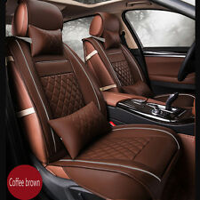 Luxury PU Leather Seat Cover Set Front Back Car Seat Cover Full Set Coffee Brown