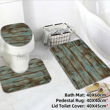 3PCS Bathroom Carpet Non-Slip Pedestal Rugs & Lid Toilet Covers & Bath Mat