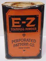 Old Antique Vintage 1930s E-Z STAMPING POWDER ART DECO NEW YORK ADVERTISING TIN