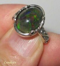 3.55 ct NATURAL BLACK OPAL STERLING SILVER RING
