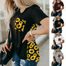 Women Summer Crew Neck Short Sleeve T Shirt Leopard Splice Blouse Casual Top Tee