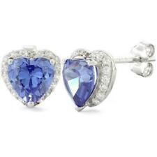 Melchior Jewellery Sterling Silver Tanzanite Big Heart CZ Earrings Gift Boxed