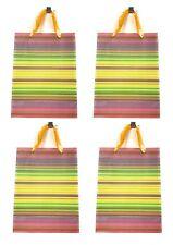 Lagiwa® Lot de 4 Sacs Papier Cadeaux RAYURES JAUNE PM 24X18X8cm
