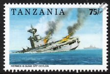 Sinking of HMS HERMES (95) WWII Aircraft Carrier Warship Stamp (1992 Tanzania)