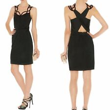 Karen Millen Black Jersey Cutwork Cross Back Cocktail Wiggle Dress UK 12 / 40