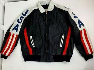 Vintage Michael Hoban American Flag leather jacket USA biker coat size 2XLT