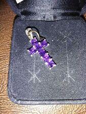 Genuine Amethyst Cross Pendant in sterling silver