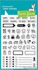 Lawn Fawn Photopolymer Clear Stamp Set ~ PLAN ON IT  Planner Size Icons  ~LF1129