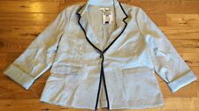NWT Womens ELLEN TRACY Grey Button Roll Sleeve Blazer Jacket Size Medium M