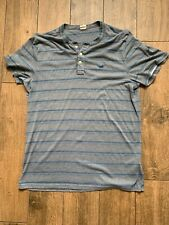 Hollister Henley Shirt Extra Large Grey And Blue Striped Top Size XL
