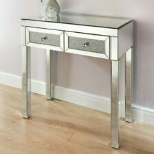 New 2 Drawer Mirrored Console Hall Dressing Table Sparkly Crystal Diamond Effect