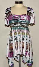 Womens Tye Dye Asym Sharkbite Hem Top in AZTEC Yummy Plus XL/1X