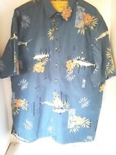 Men's Hook and Tackle Outfitters XLarge SS Hawaiian Shirt Casual Button Blue