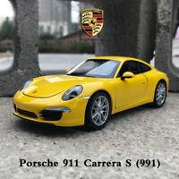 Yellow Porsche 911 Carrera S (991) 1/24 Scale Diecast Metal Sports Car Model Toy