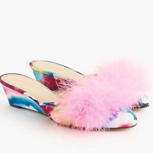 J. Crew COLLECTION BLANCHE MARABOU MINI WEDGE MULES  5
