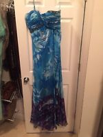 Long Formal Evening Prom Party Bridesmaid Ball Gown Cocktail Dress Blue w/Purple
