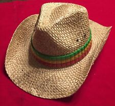 faff8c79 PETER GRIMM NEIL Style Rastafarian Color Flag DRIFTER COWBOY STRAW HAT New
