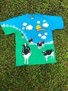 Vintage 2000s BEN & JERRY'S COW & CLOUDS T-shirt size small NIKE SB  LIQUID BLUE