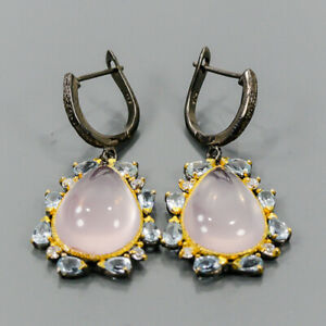 One of a kind Rose Quartz Earrings Silver 925 Sterling   /E57781