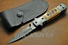"DE1 ~ 8"" HRC DAMASCUS DOUBLE EDGED TACTICAL COMBAT KNIFE W/ MOSAIC PIN - USA"