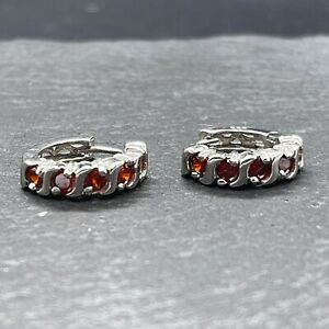 Vintage 925 Sterling Silver Huggie Earrings with Red Glass