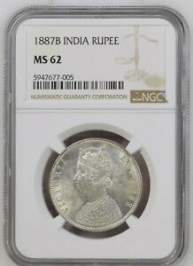 1887 B  British India Empress Victoria Silver Rupee NGC MS 62