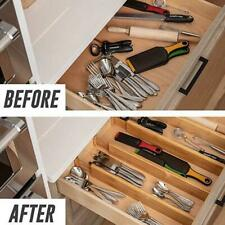 1X Bamboo Drawer Divider Organizers Adjustable & Expendable Bambo M6H3