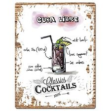 PP0679 Cocktails Cuba Libre Chic Plate Sign Home Bar Store Cafe Pub Decor