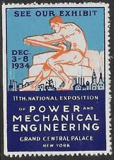 Usa Poster stamp: 1934 11th Annual Power & Mechanical Engineering Ex, Ny -dw712