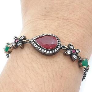 Deco 7.00ct Ruby, Emerald & Diamond Cut Sapphire 14K Yellow Gold Silver Bracelet