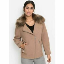 Size 12 Ladies Winter Coat Fur Trimmed Collar Brown / Beige Colour New