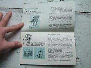 Vtg GE General Electric M8400 Black & Silver Cassette Tape Recorder Instructions